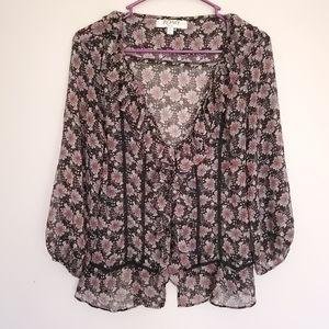 Romy romantic ruffle floral sheer blouse XL